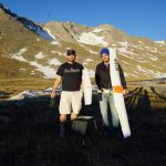 Jack Elston, PhD and CEO of Black Swift Technologies (left) prepares to pilot the SwiftTrainer™ aircraft over Mount Evans. Holding the aircraft is Maciej Stachura, CTO of Black Swift Technologies.