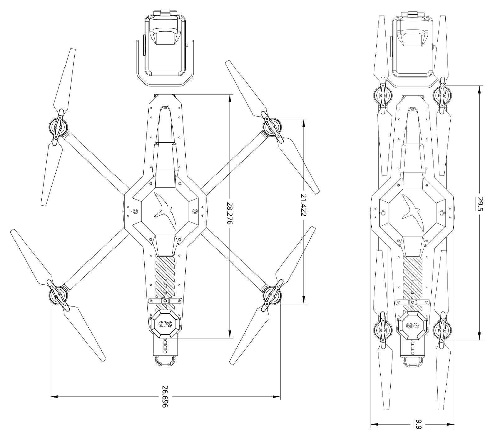 Measurements of Black Swift E2 quadcopter